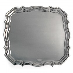 Square Shape Silver Salver with Chippendale Border