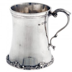 Circular Silver Christening Mug or Cup with a Cast Scroll and Leaf Handle