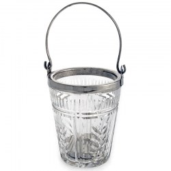 Art Deco Style Silver Plate and Cut Glass Ice Pail