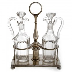 An Antique Christofle Silver Plate Oil and Vinegar Stand with Cut Glass Bottles
