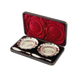 Boxed Pair of Antique Edwardian Silver Butter Dishes