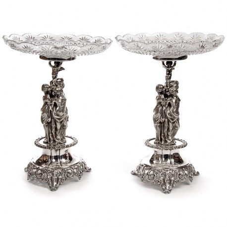 Pair of Elegant Comports Depicting Three Femail Figures and a Cherub