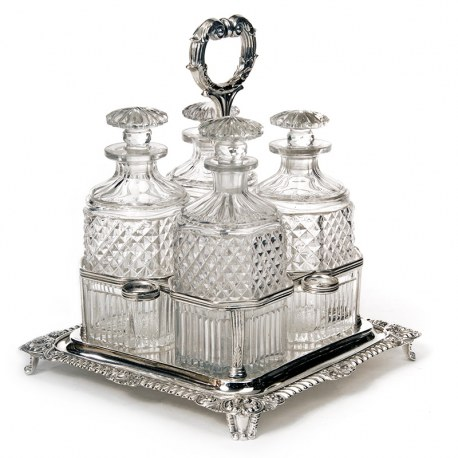 Georgian Old Sheffield Plate Decanter Stand inc Four Cut Glass Decanters