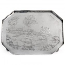 Unusual Victorian Silver Tray Depicting a Hunting Scene