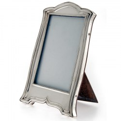 Plain Silver Photo or Picture Frame in Shaped Rectangular Form