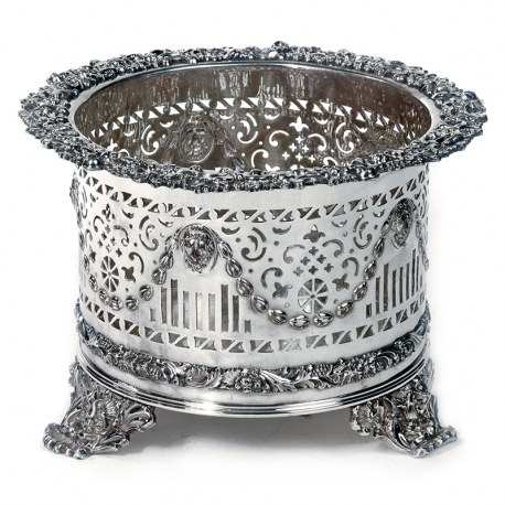 Late Victorian Silver Plated Planter with a Scroll and Floral Border