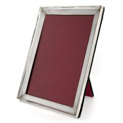Plain Silver Photo or Picture Frame with a Rectangular Concave Border