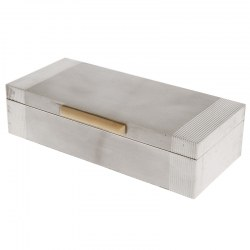 Silver Art Deco Cigar Box with an Engine Turned Lid and Ribbed Corners