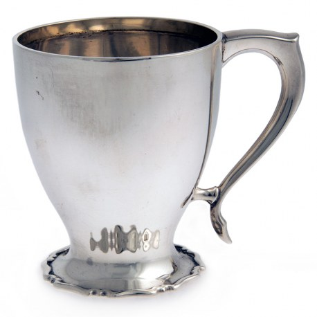 Silver Christening Mug with Applied Scroll Handle and Unusaul Spreading Foot