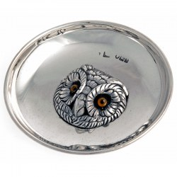 Sampson Mordan & Co Small Silver Dish with a Cast Owl Head