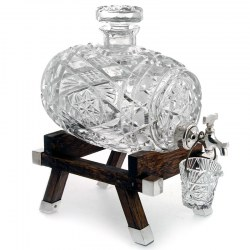 Cut Glass Spirit Barrel with Silver Plated Tap and Oak Trestle