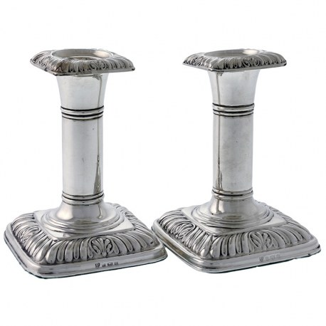 Pair of Plain Column Silver Candlesticks c.1902