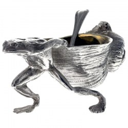 Reproduction Silver Plated Salt in the Form of a Frog Pulling a Snail Shell