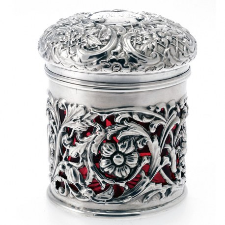 Unusual Glass Lined Silver Dressing Table Jar c.1901
