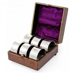 Set of Six Silver Plate Greek Key Design Napkin Rings