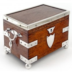 Late Victorian Oak and Silver Plate Tea Caddy by John Grinsell