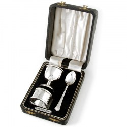 Boxed Plain Design Silver Christening Set