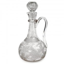 Victorian Engraved Glass Claret Jug with a Grape and Vine Design
