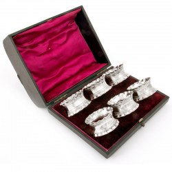 Six Silver Plate Napkin Rings in a Red Velvet Lined Box. Circa 1895