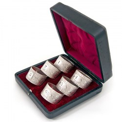 Antique Boxed Set of Six Numbered Napkin Rings c.1895