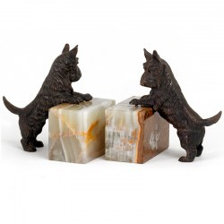 Pair of Bronze Scottish Terrier and Onyx Bookends
