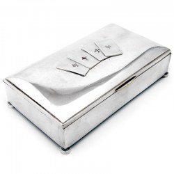 Silver Plated Playing Card and Cigar Box
