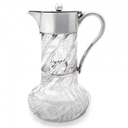 Victorian Silver Plate Claret Jug with Plain Mount and Ball Finial c.1890
