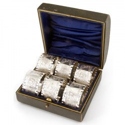 Set of Six Antique Silver Plated Napkin Rings with a Shield Design