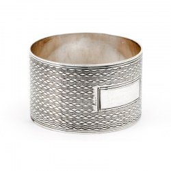 Silver Napkin Ring with Reeded Border and Machine Turned Patterned Body