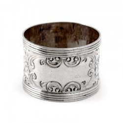 Victorian Silver Napkin Ring Chased with Scrolls and Flowers. Levi & Salaman