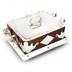 Victorian Oak and Silver Plate Butter or Sardine Box
