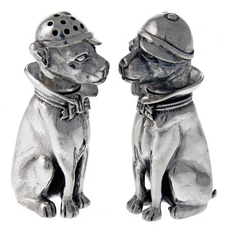 Pair of Heavy Sterling Silver Dog Shape Salt & Peppers