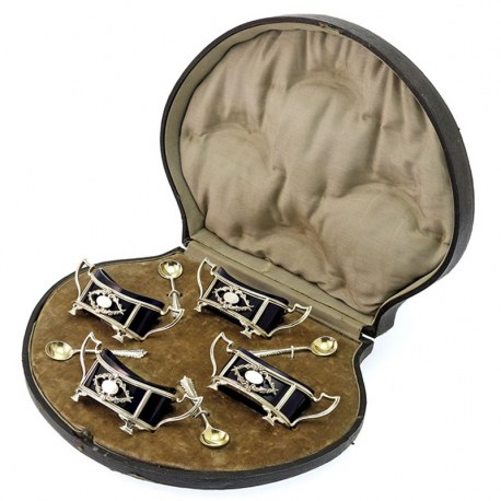 Matching Set of Four Silver Salt Cellars with Blue Glass Liners c.1912