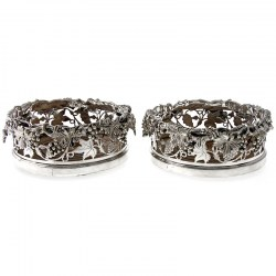 Pair of Victorian Magnum Bottle Size Silver Plated Coasters c.1890