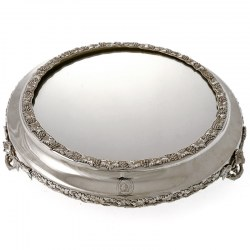 Good Quality Antique Silver Plate Mirror Plateau Cake Stand c.1890
