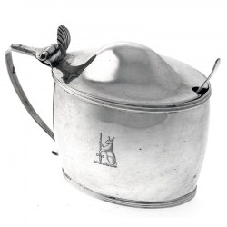 Antique Silver Oval Mustard Pot by Peter, Ann & William Bateman c.1804