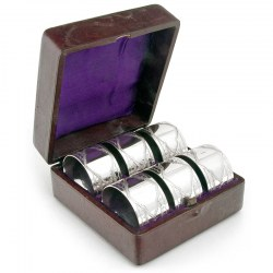 Set of Six Boxed Antique Silver Plate Napkin Rings c.1890