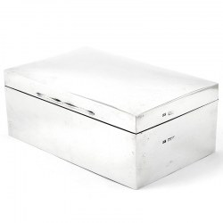 Silver Mappin & Webb Cigar Box with a Domed Hinged Lid and Cedar Wood Lining