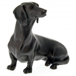A Bronze Figure of a Sitting Dachshund Sausage Dog