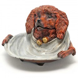 Painted Bronze Reproduction of a Victorian Poodle Dog Ink Well