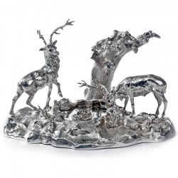 Victorian Cast Silver Plate Ink Stand Depicting Two Stags by a Pond
