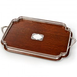 Late Victorian Oak & Silver Plate Shaped Gallery Tray c.1900