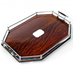 A Stylish Large Antique Cut Corner Oak & Silver Plate Gallery Tray c.1900