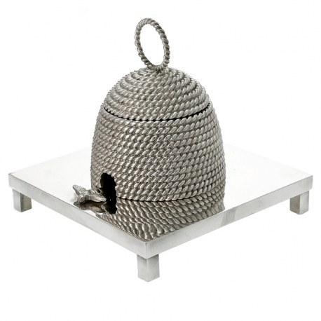 Victorian Style Bronze Silver Plated Bee Hive Inkwell