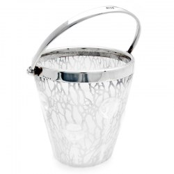 Art Nouveau Style English Silver Plate and Acid Etched Glass Ice Pail