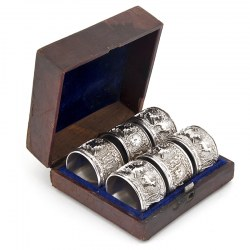 Six Victorian Silver Plate Napkin Rings Depicting Stags and Deer in a Forest