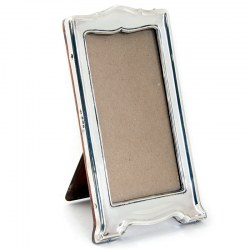 Slim Rectangular Plain Silver Photo Frame with a Shaped Top and Base