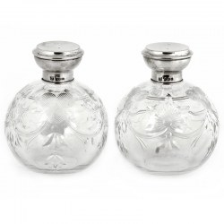 Pair of Cut Glass Silver Topped Perfume Bottles