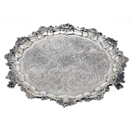 Flat Chased George III Silver Salver c.1814