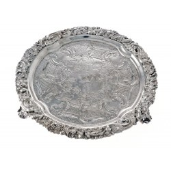A George III Flat Chased Circular Silver Salver c.1818